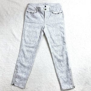 Snake Print Skinny Crop Jeans with Accents